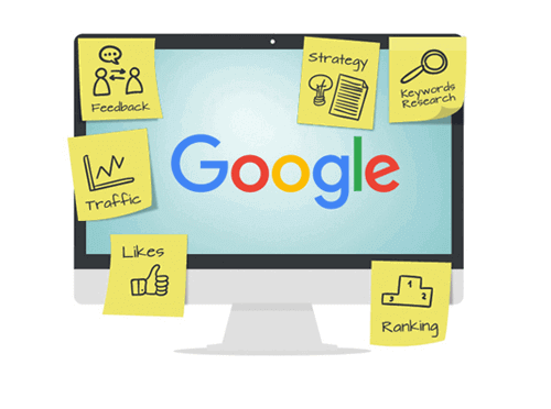 Représentation des moteurs de recherche incluant Google