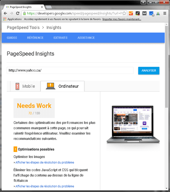 Analyser un site web avec Google Pagespeed